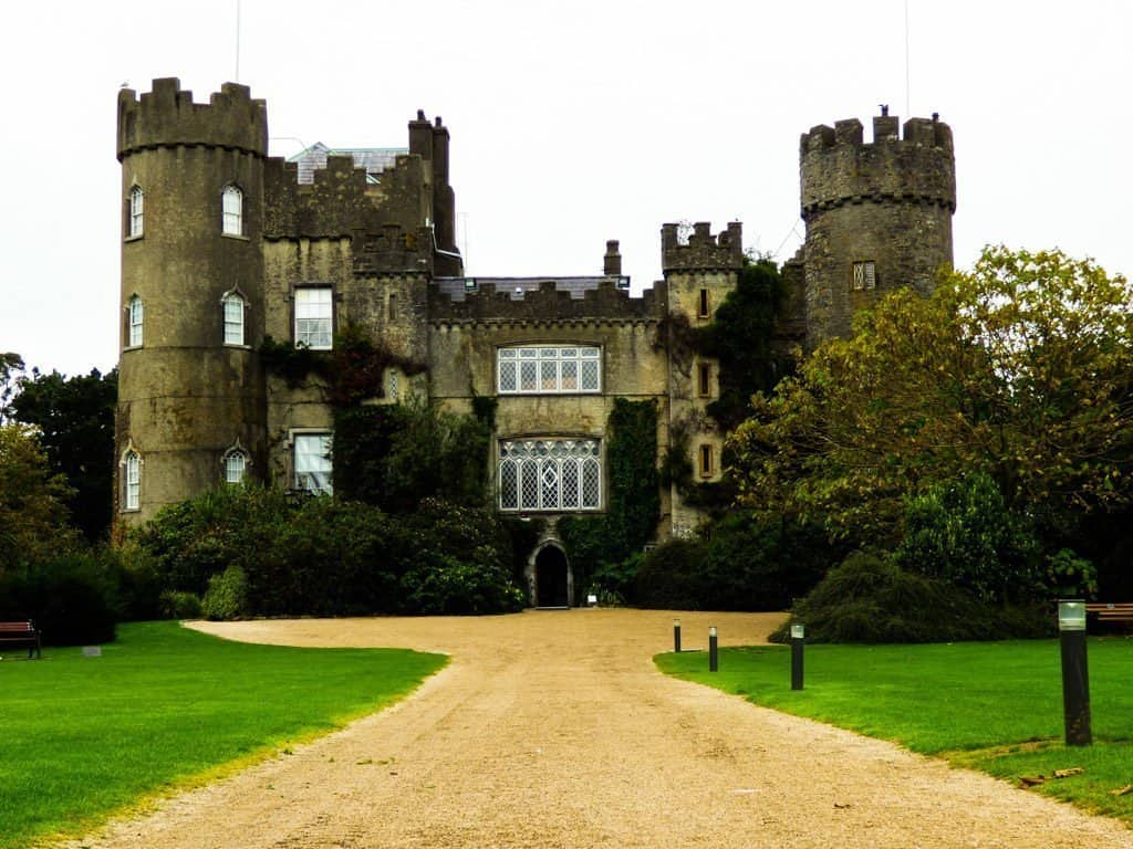 Looking at the front of Malahide Castle in Dublin
