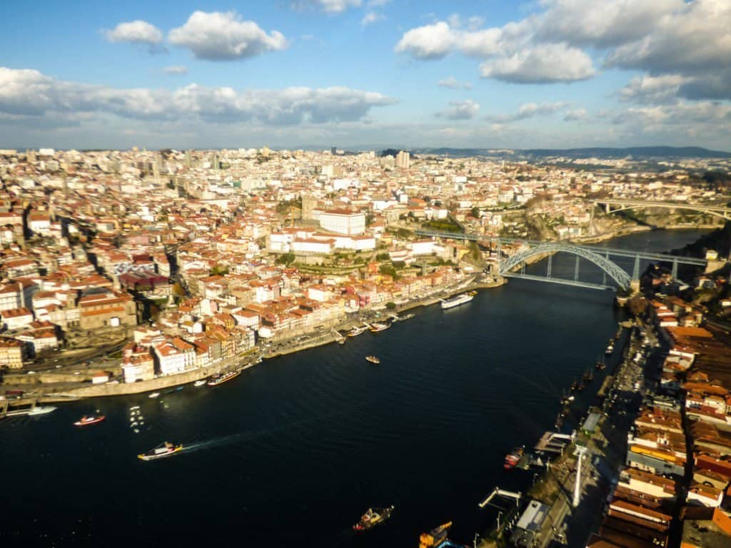 View of Porto from helicopter