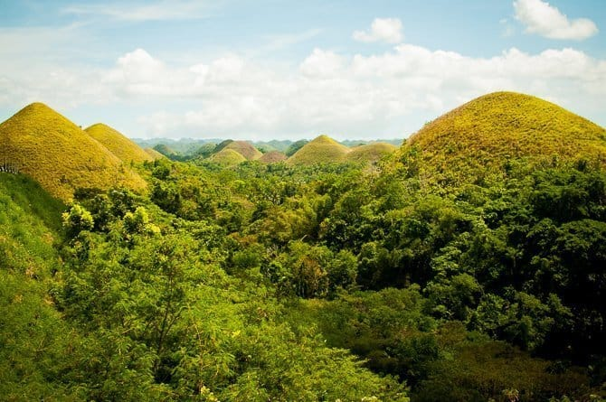 View looking over the Chocolate Hills of Bohol