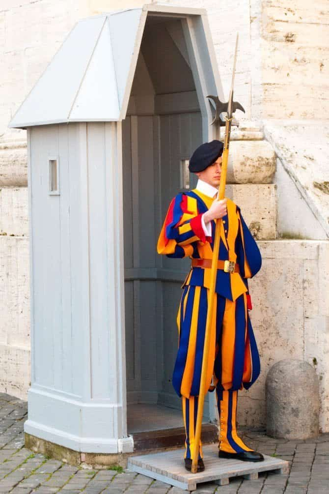 Swiss Guard at Vatican City. We passed him when going to our Scavi Tour.