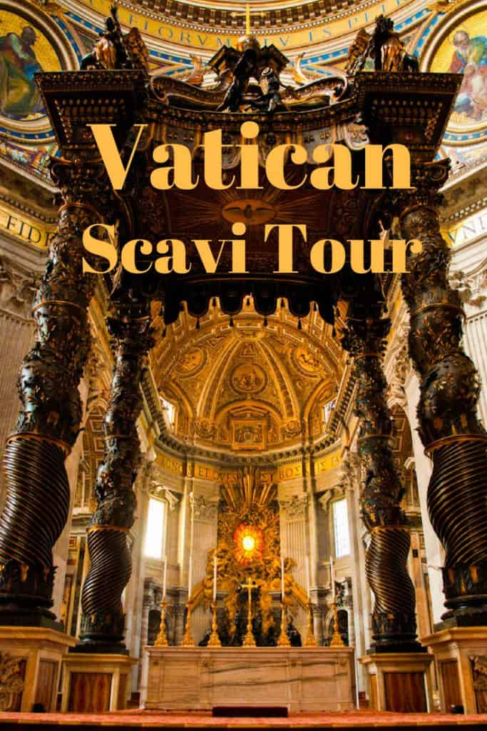 Massive marble monument in St Peter's Basilica that marks the spot of St Peter's tomb which can be seen on a Scavi Tour in the catacombs below.