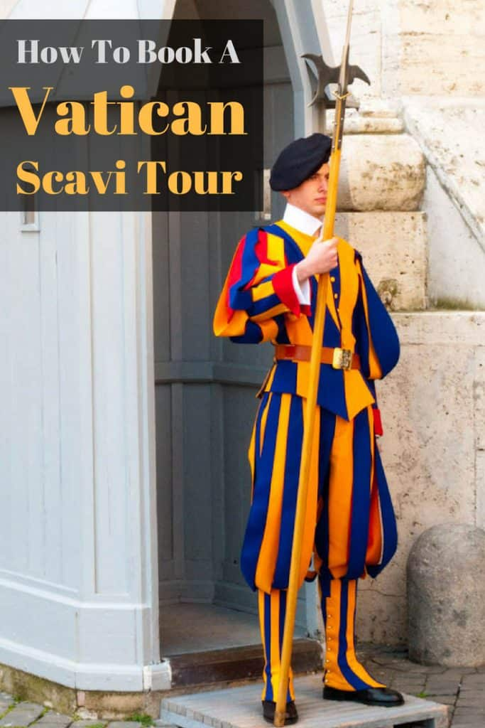 A member of the Swiss Guard dressed in the colorful striped uniform of gold, red and blue. When visiting the Vatican don;t miss the exclusive Scavi Tour.