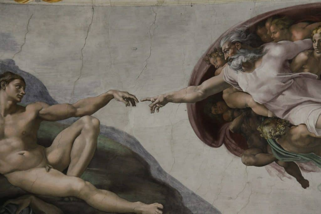 Close up of Michelangelo's The Creation of Adam in the Sistine Chapel