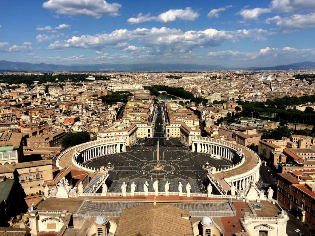 View of Saint Peter's Square and Vatican City from the dome of St Peter's Basilica