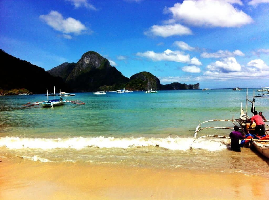 View of the beach at El Nido, Palawan Philippines
