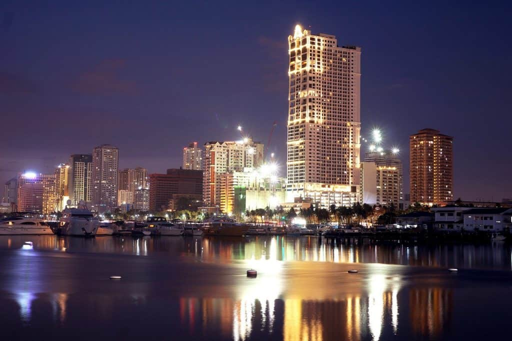 Highrises in downtown Manila at night