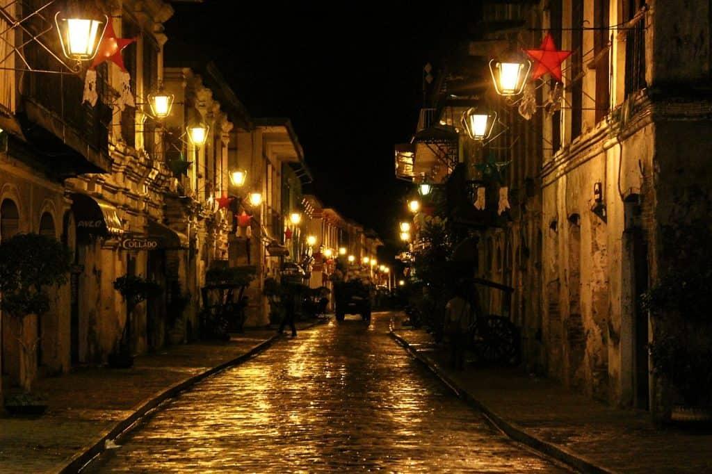 Streets of Vigan City at night