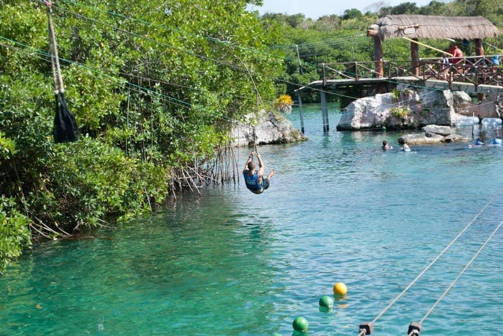 Ziplining at Xel Ha water park near Playa del Carmen Mexico