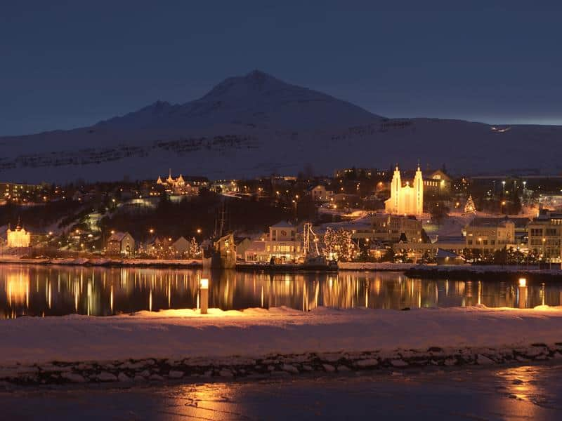 View of Reykjavik at night in the winter