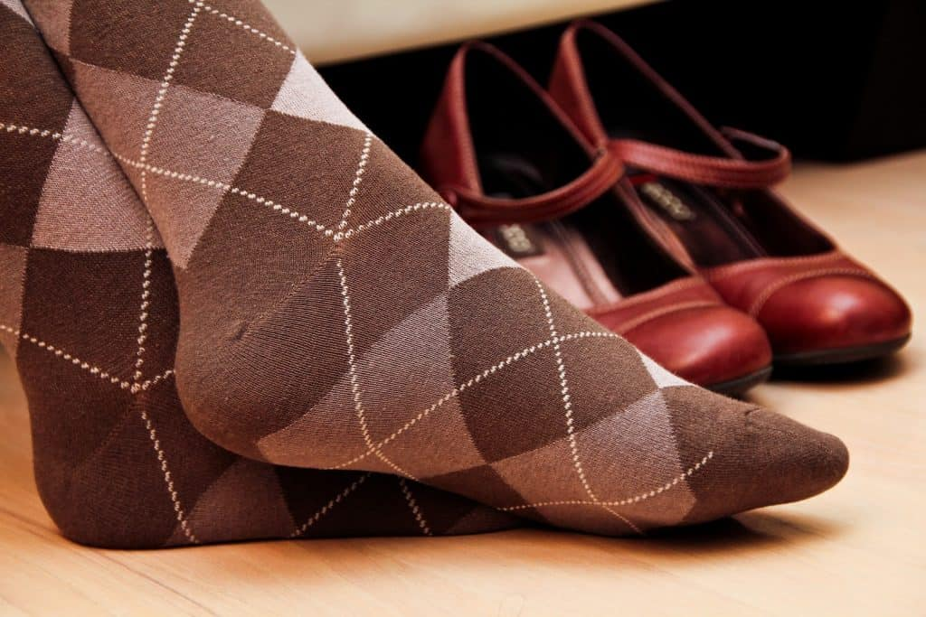argyle socks and red shoes