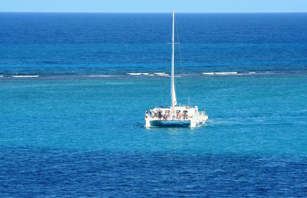 Catamaran on the Caribbean Ocean near Cancun