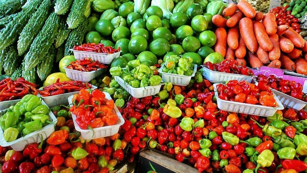 Fresh produce on display at a market