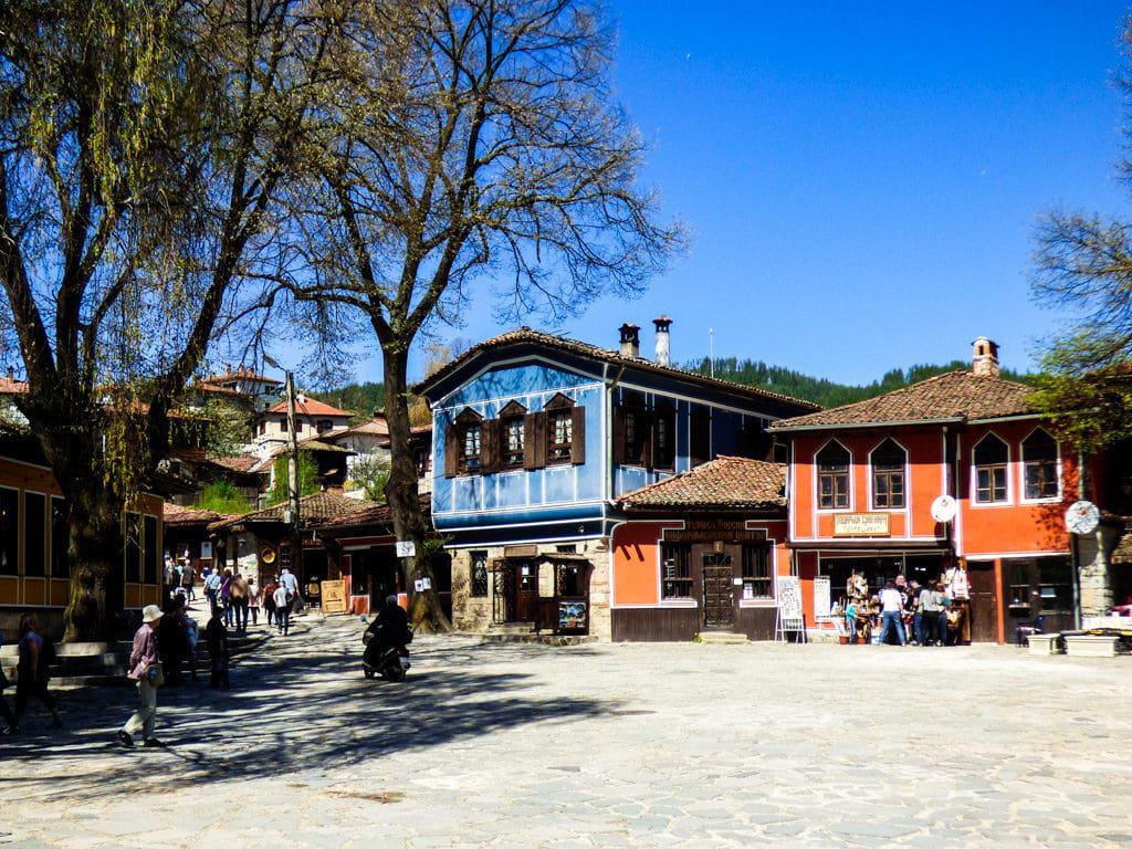 Colorful Bulgarian National Revival homes in Koprivshtitsa Village Bulgaria