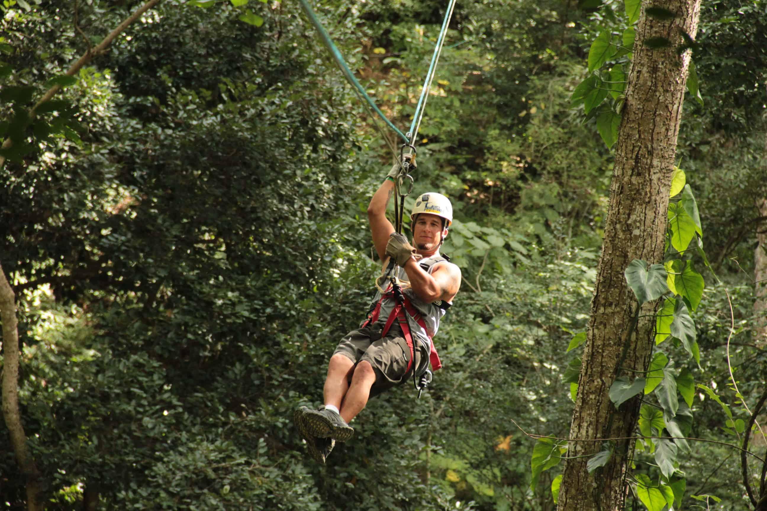 Man ziplining