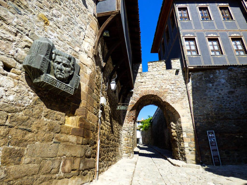 View of one of the pretty cobblestone streets in Old Town Plovdiv, Bulgaria