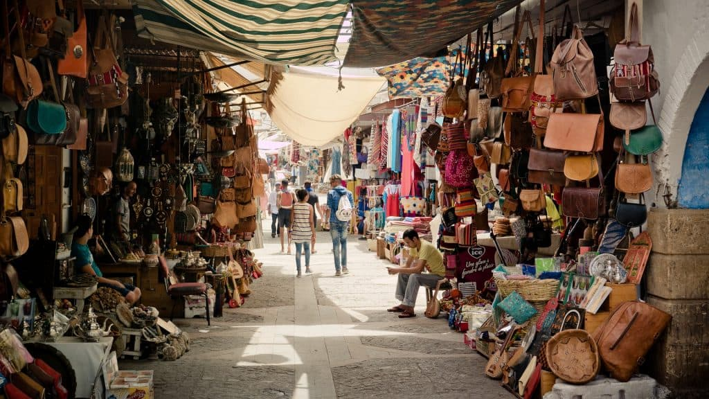 Stands at a Souk (outdoor market) in Morrocco