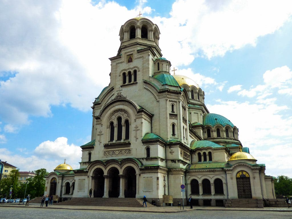 Front view of the St Alexander Nevski Church in Sofia Bulgaria