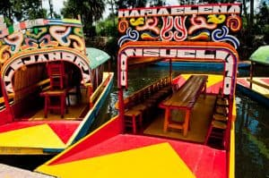 Brightly colored Mexican boat