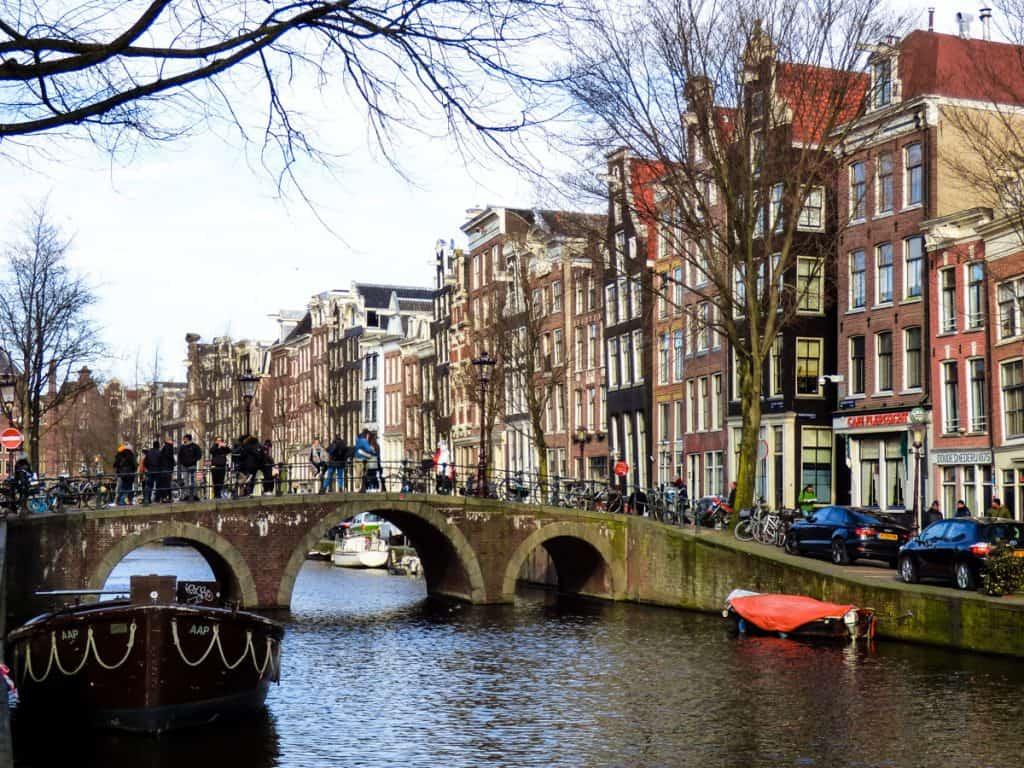 Amsterdam canal with colorful gabled houses