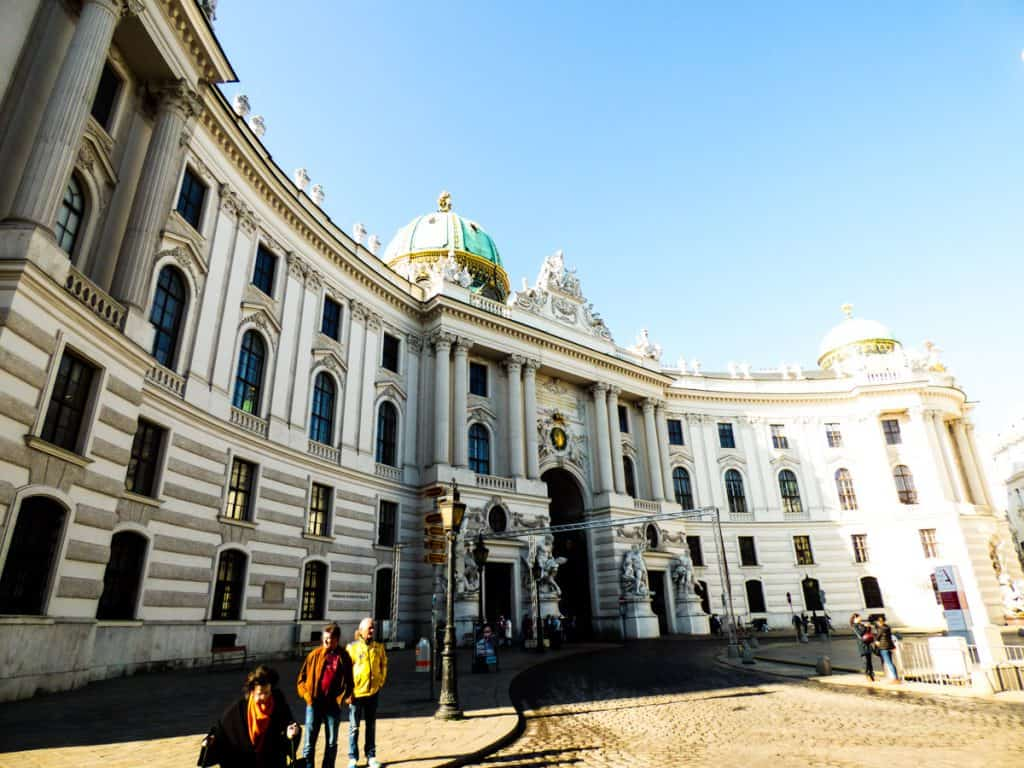 Beautiful white marble building Ringstrasse Vienna Austria
