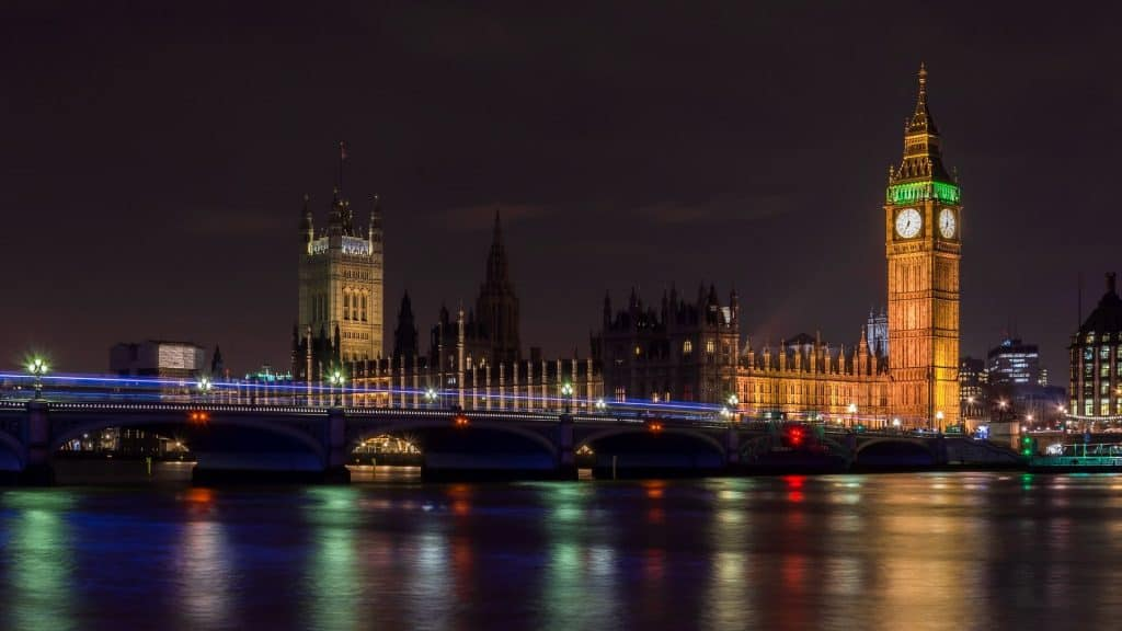 London Parliament lit up at night