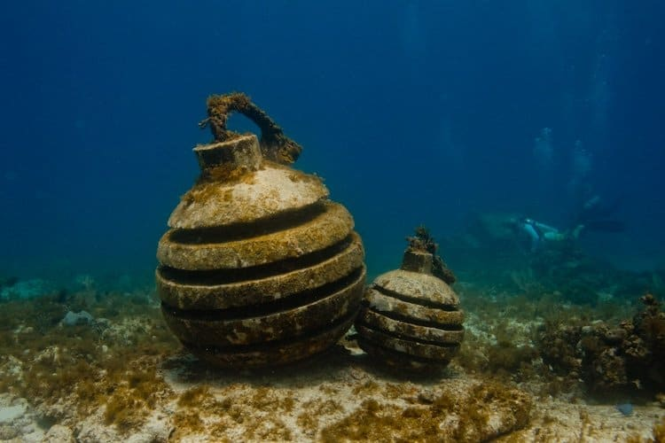 MUSA Underwater Time Bomb Sculpture at Museum in Cancun Mexico