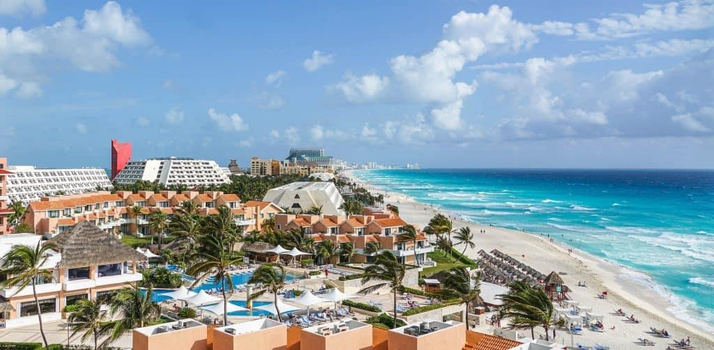 aerial view of a beach resort near Playa del Carmen