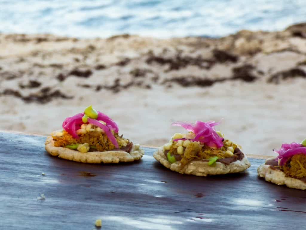 Traveler's Table Yucatan food experience sopes on the beach