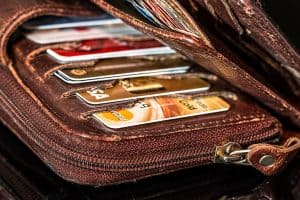 Safety tips for travel: an open wallet with cards showing