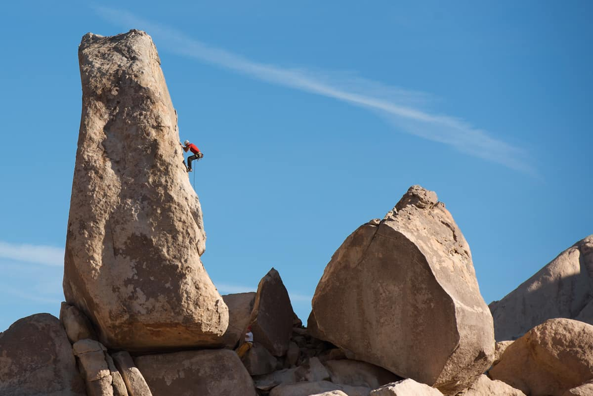 Large rock pinnacle with a climber on it