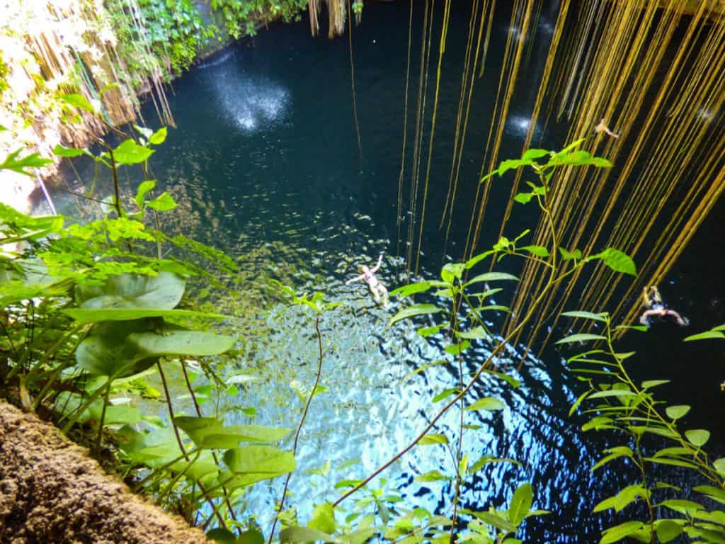 view from above of Ik'Kil Cenote Yucatan Mexico