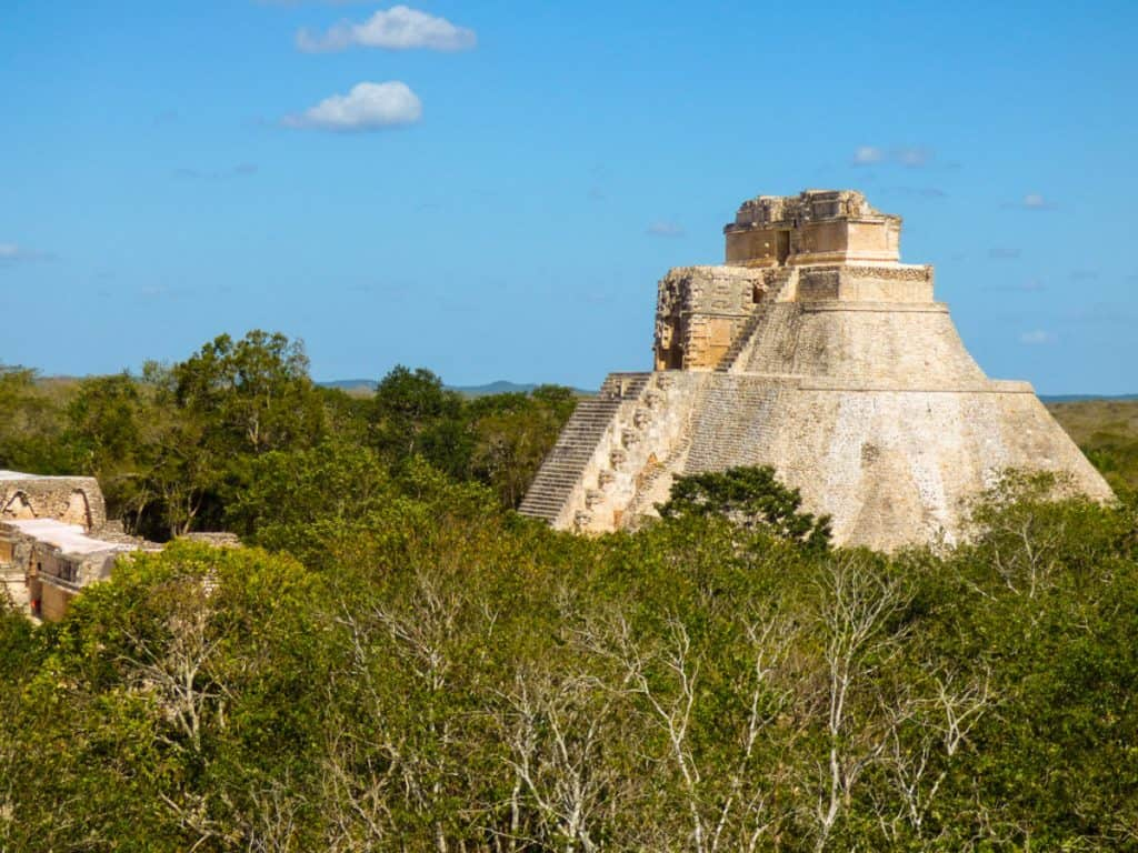 Mayan temple in the jungle at Uxmal in Yucatan Mexico