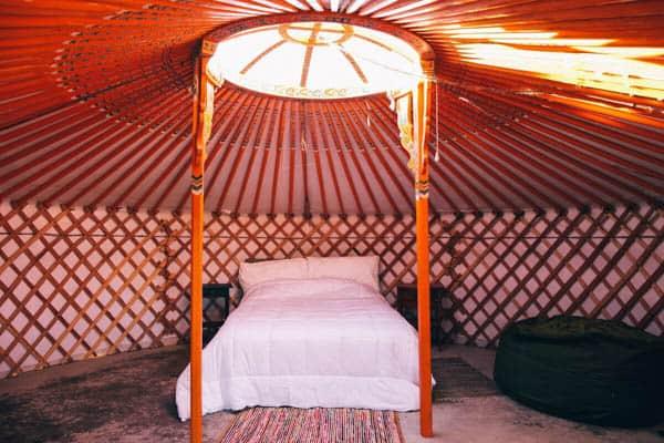 Joshua Tree Yurt Interior bed