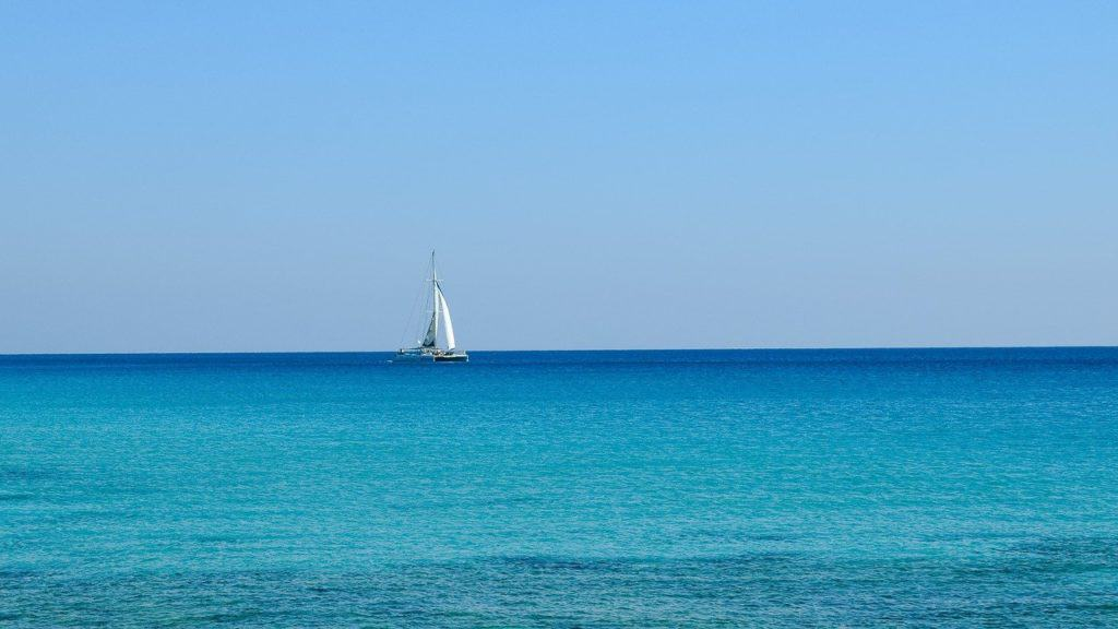 Sailboat on horizon of Caribbean