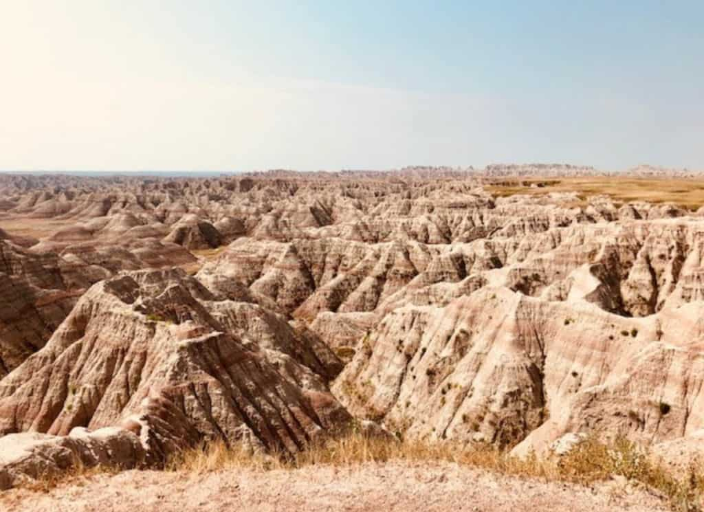 Aerial view of rock formations at Badlands National Park
