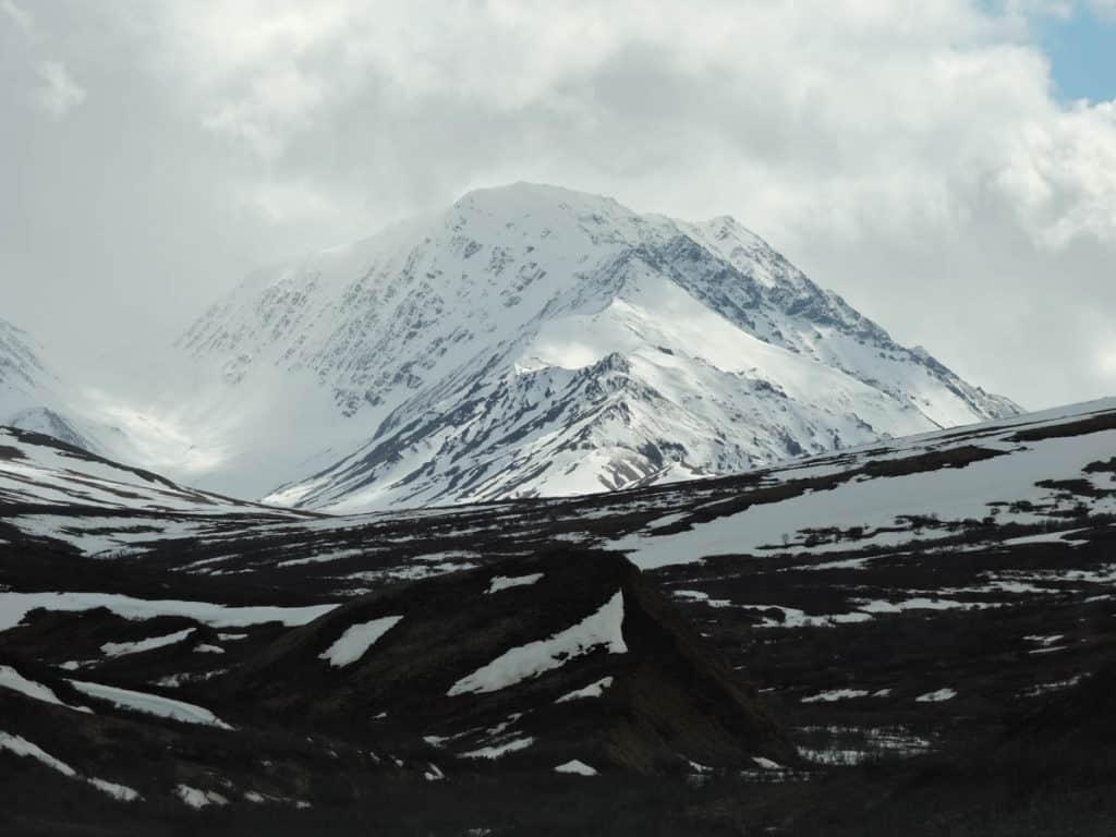 Snowy mountain top at Denali National Park Alaska