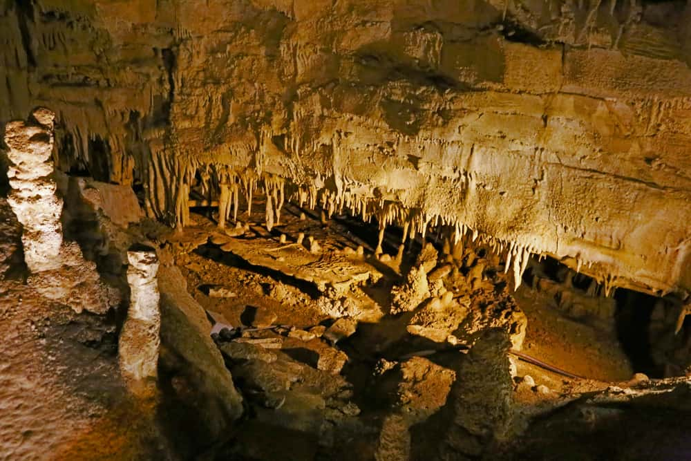 Stalagmites and stlagtites inside Mammoth Cave