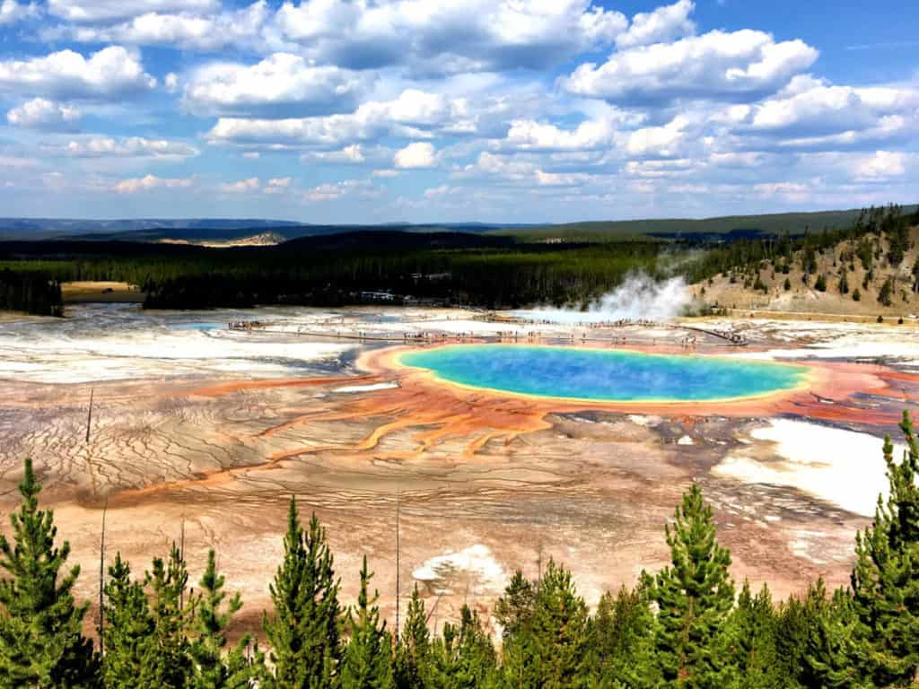 Green and blue Prismatic Pool at Yellowstone National Park USA
