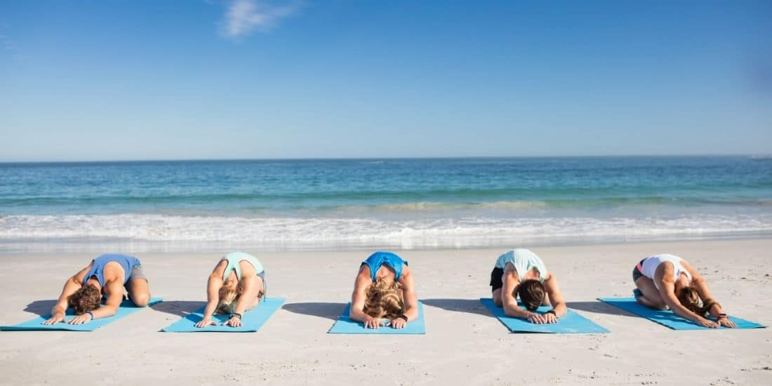 Beach yoga in Sayulita Mexico